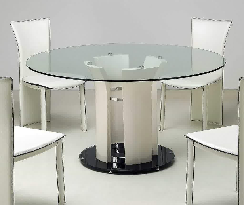 Contemporary Round Dining Table Glass